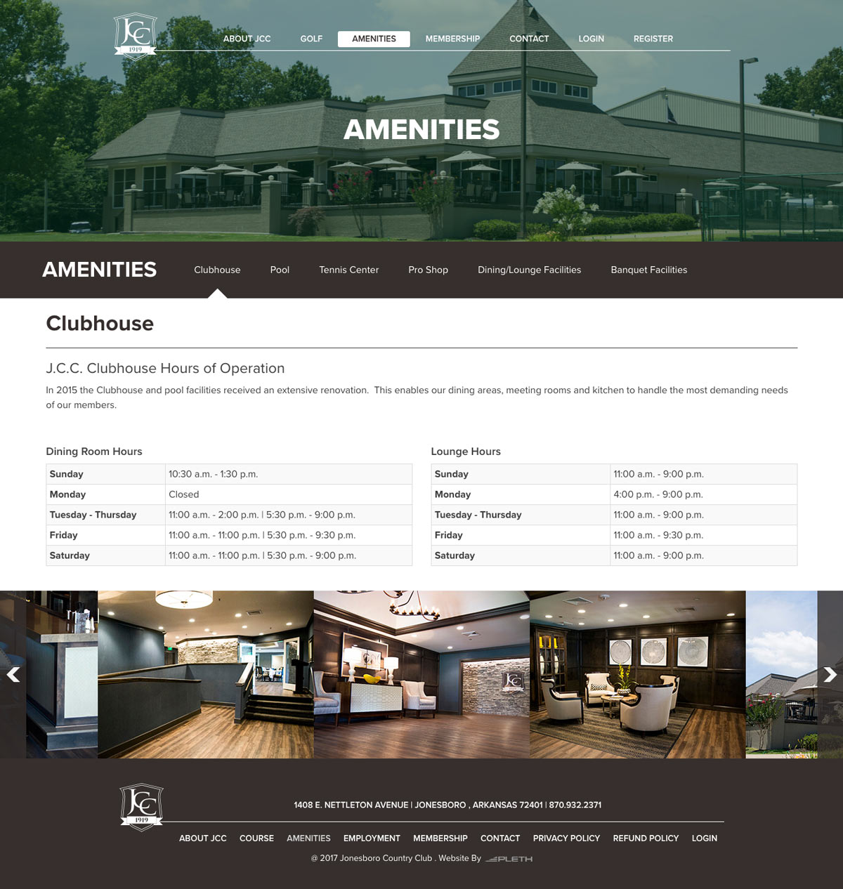 Jonesboro Country Club Amenities page