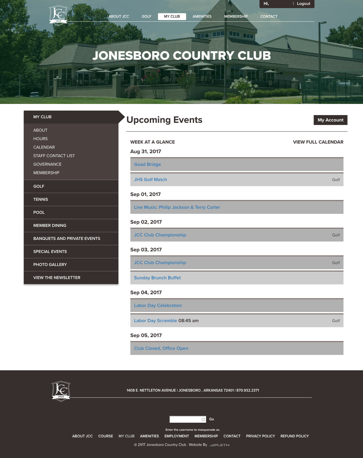 Jonesboro Country Club Logged In