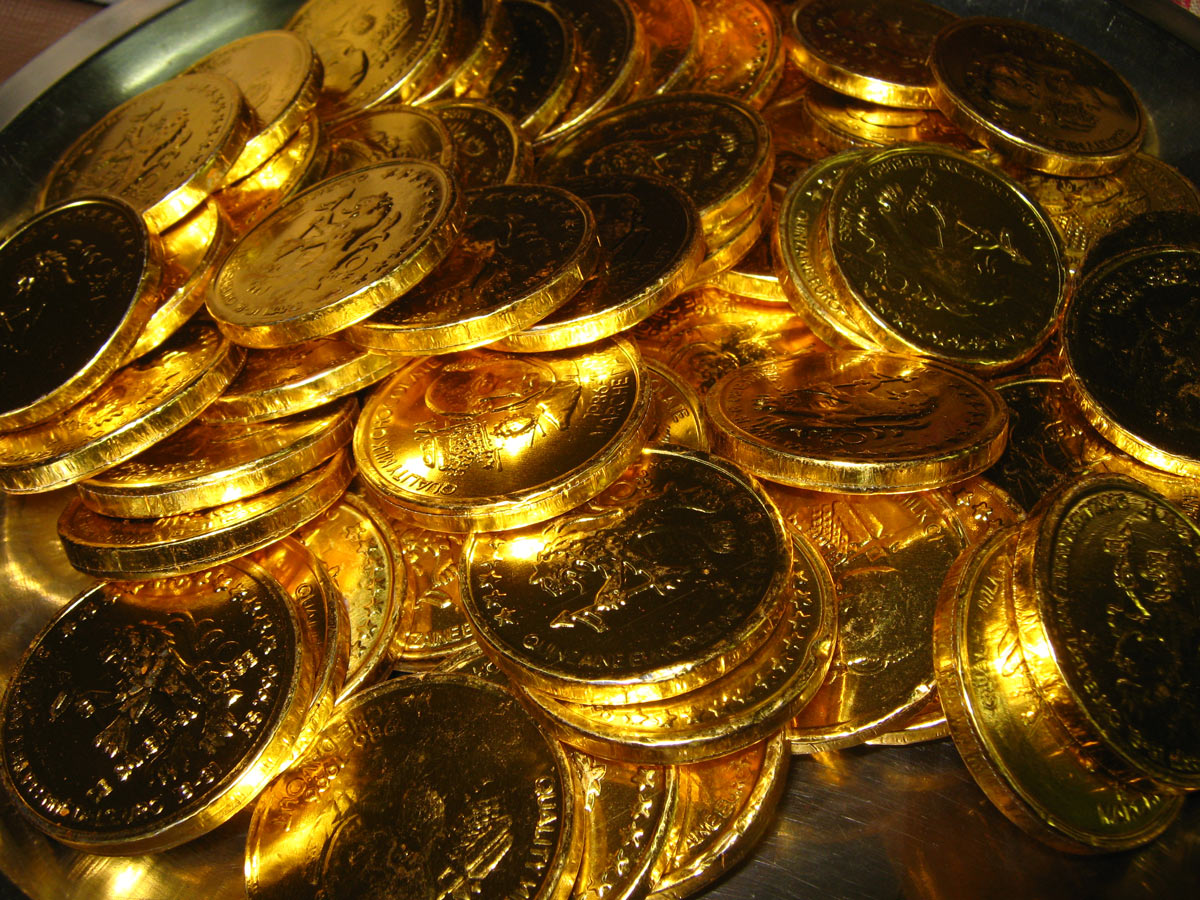 gold foil wrapped chocolate coins; your content should be just as good