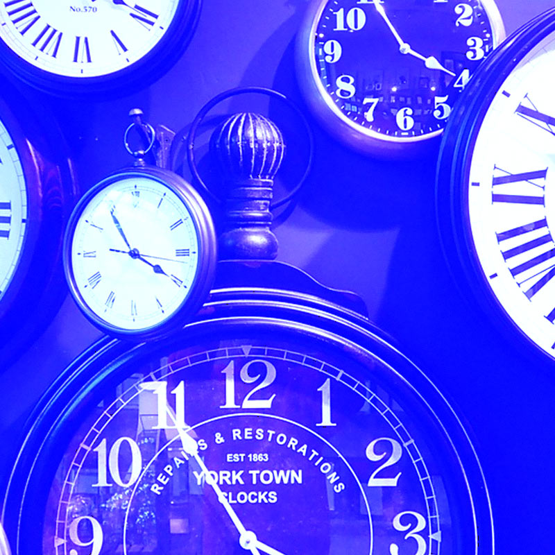 abstract blue clocks