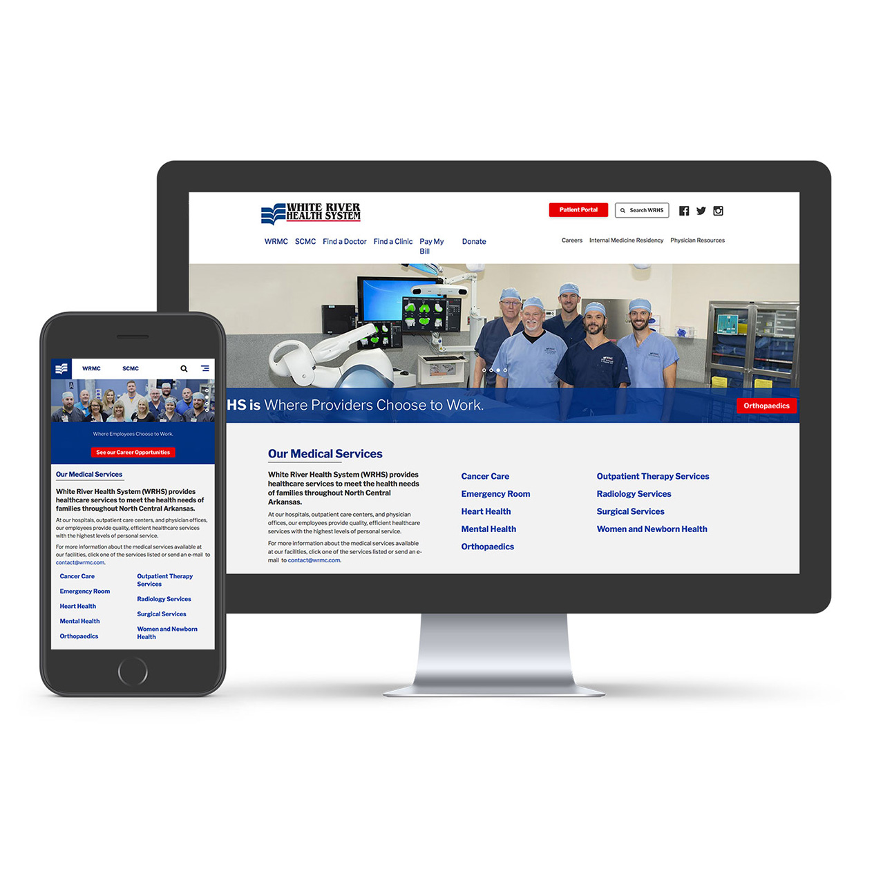 Homepage mockup of main website for White River Health System