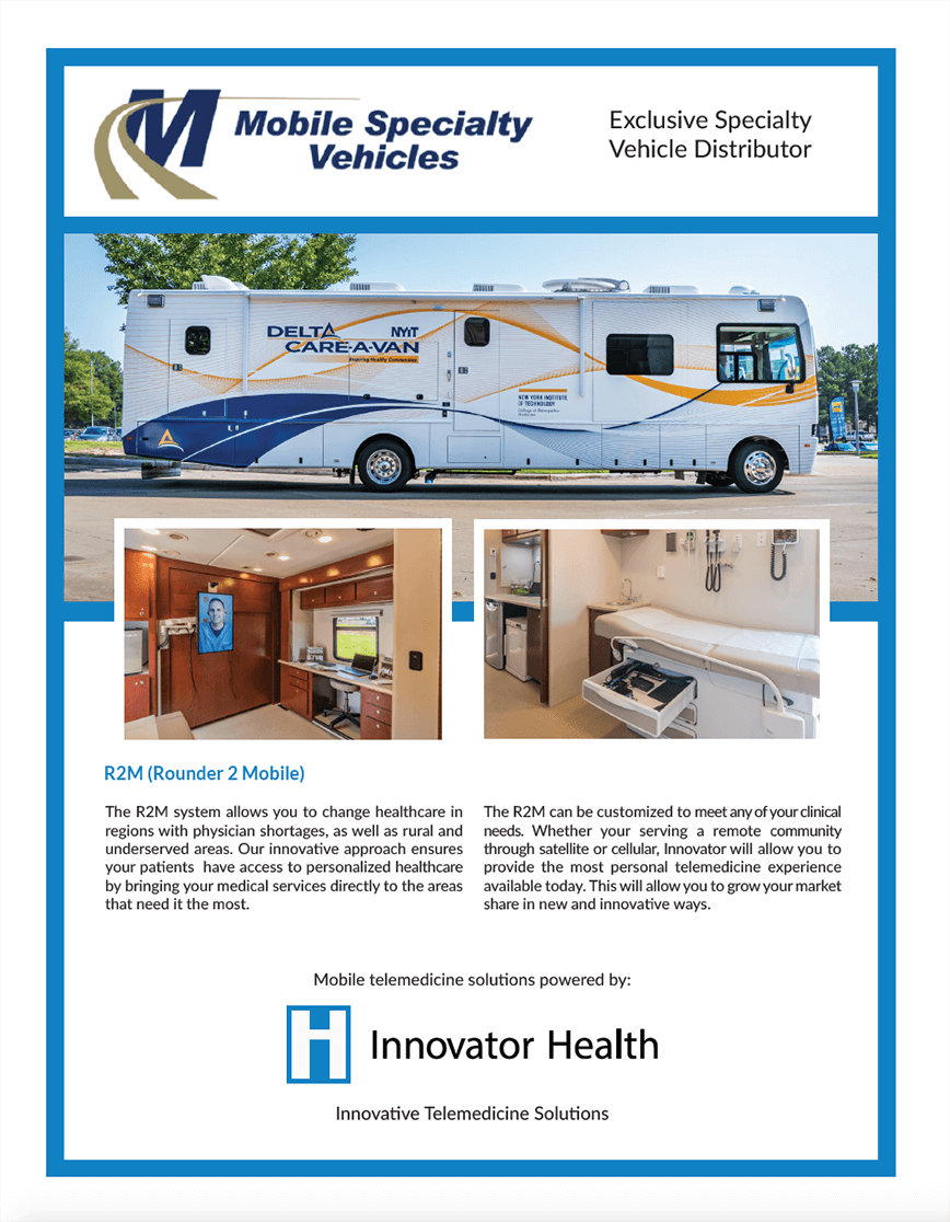Front of flyer with details about the Rounder 2 Mobile showing images of the Delta Care-a-Van