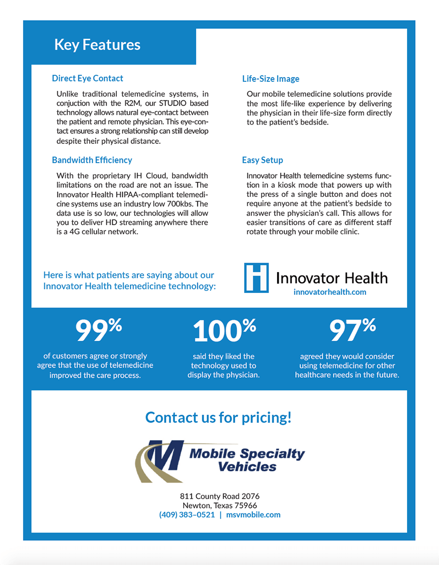 Back of flyer with details about the features of the Rounder 2 Mobile and telemedicine products Innovator Health offers