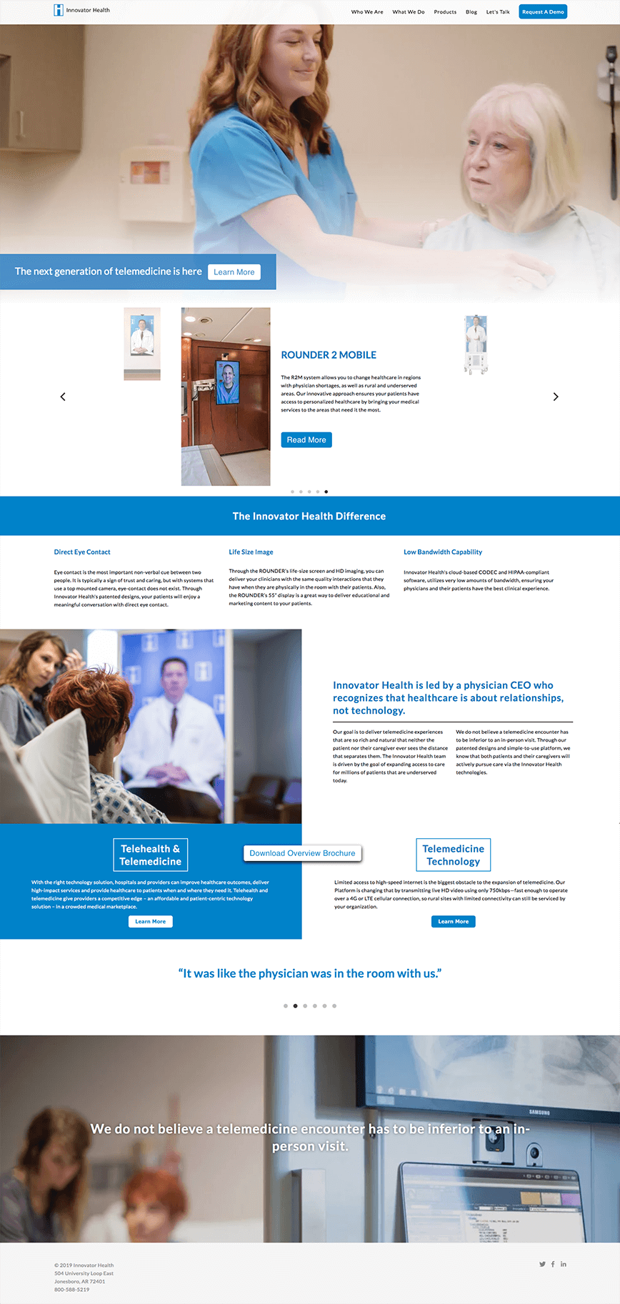 Full Innovator Health homepage layout with blue headers showing large video background of product and custom slider telling about each product
