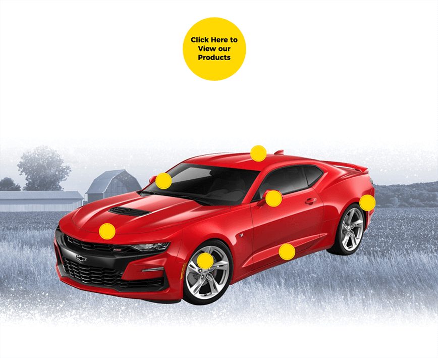 Red Chevy Camaro and product button with farmland and barn background image