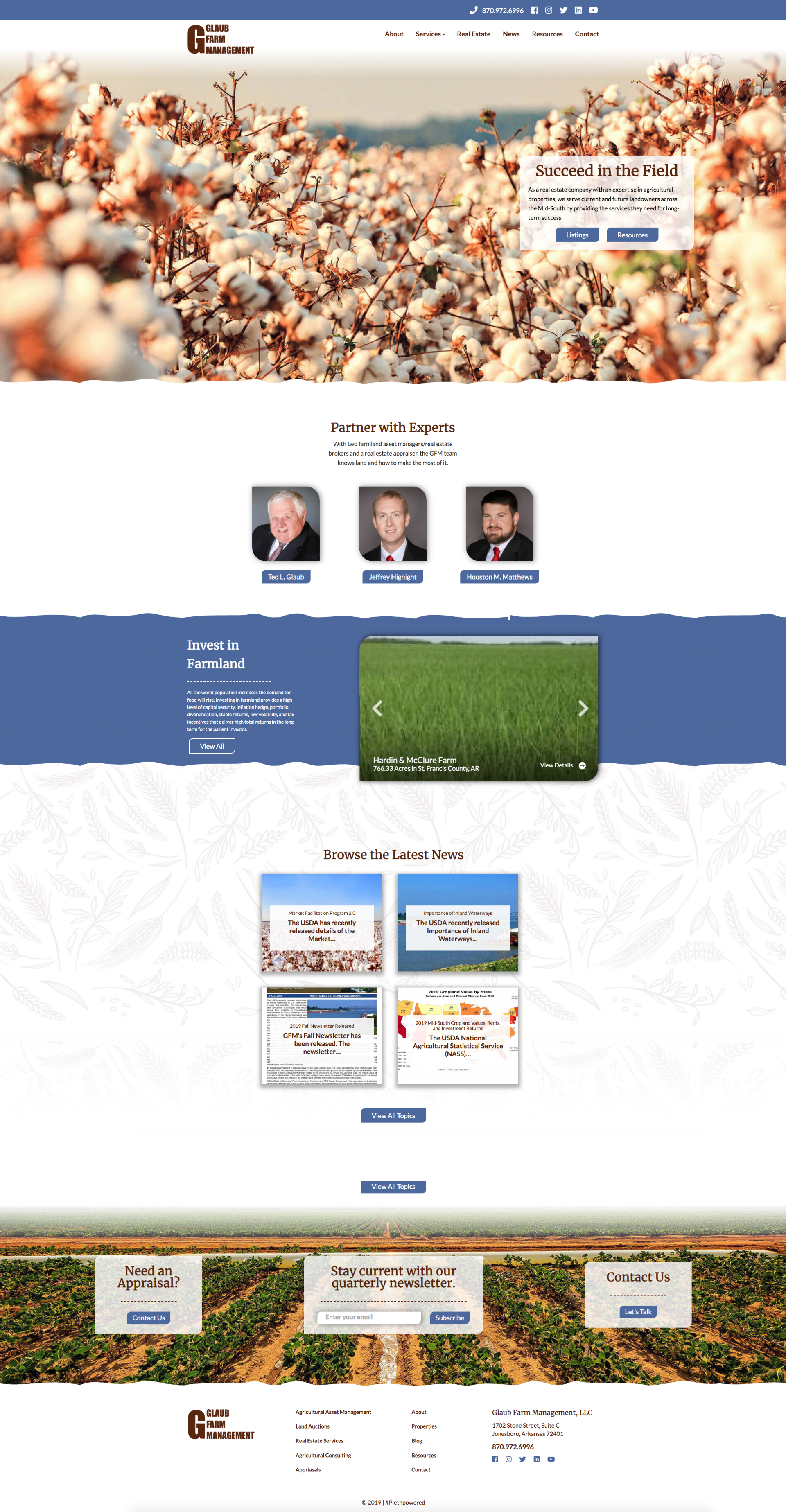 Glaub Farm Management full homepage layout