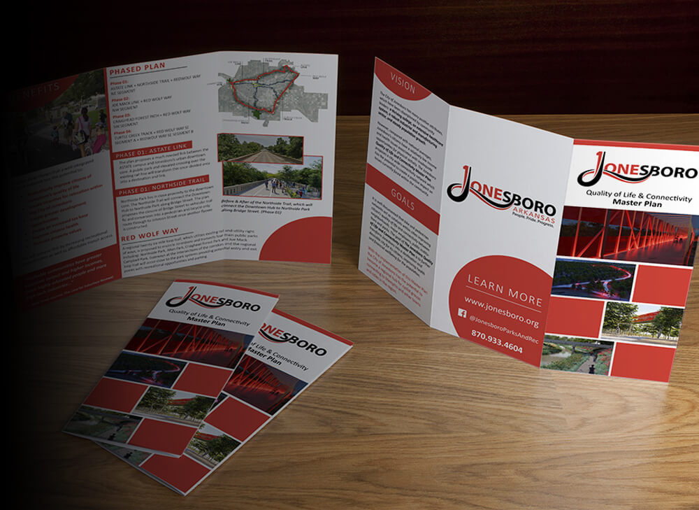 brochure design for the city of Jonesboro master plan