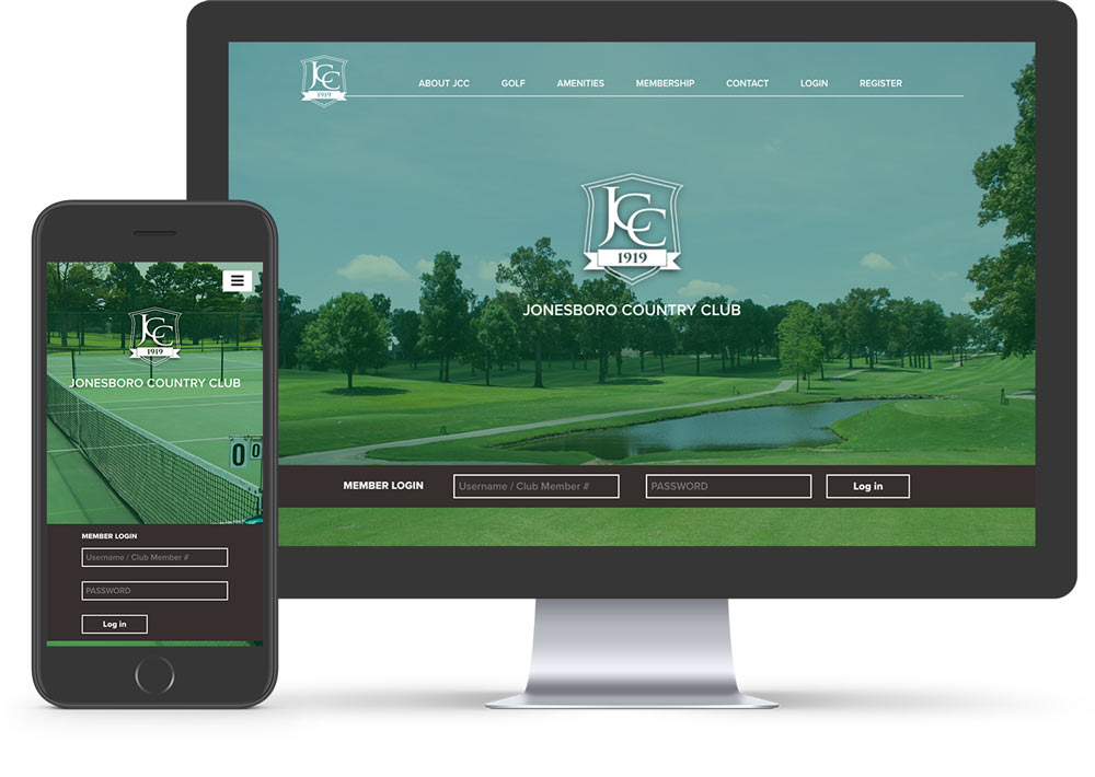 Jonesboro Country Club website mocked up on computer and mobile