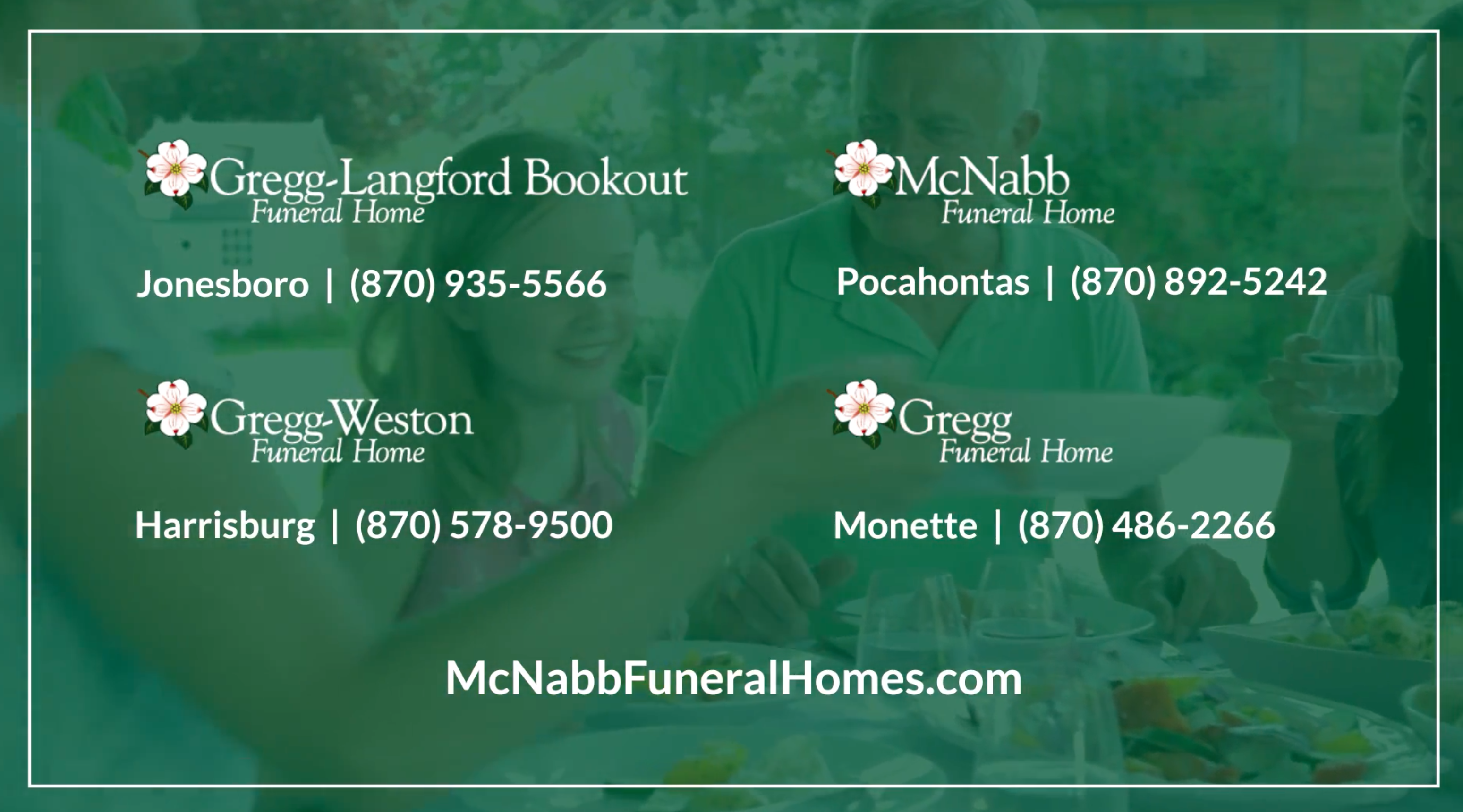 green overlay on image of family with mcnabb locations listed on top