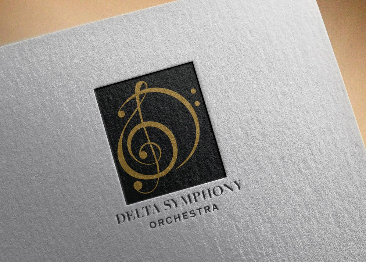 mockup of delta symphony orchestra logo on textured paper