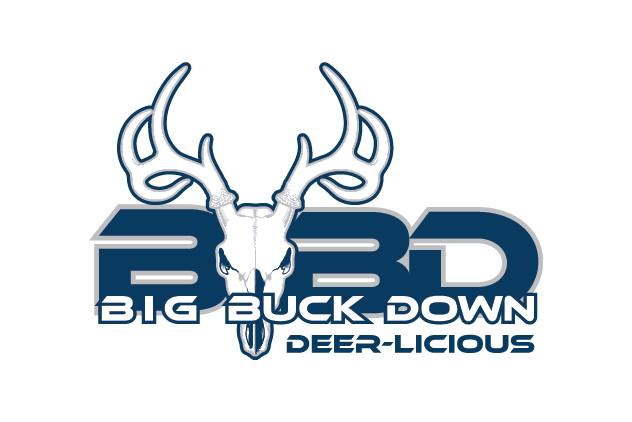 logo with big letters 'BBD' in blue and the name 'big buck down' in smaller letters with a deer skull in the background