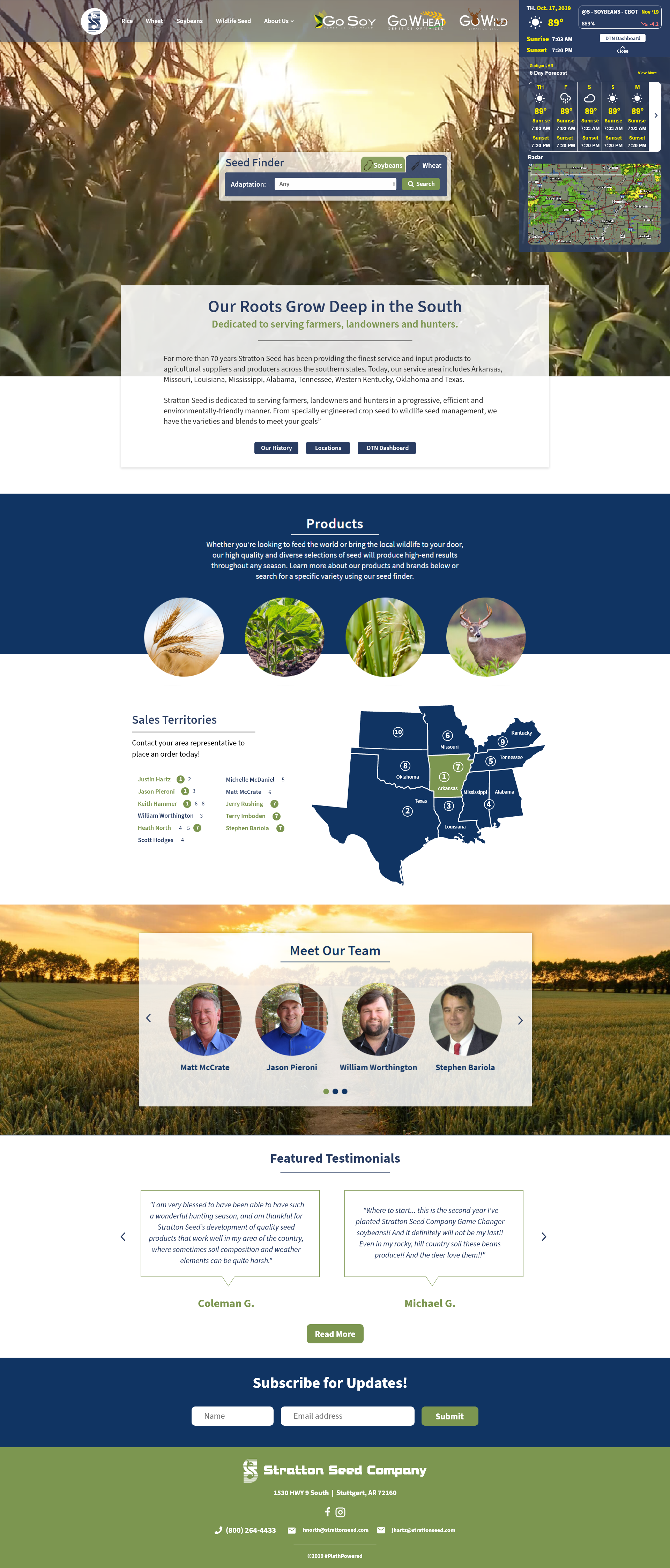 homepage layout of strattonseed.com