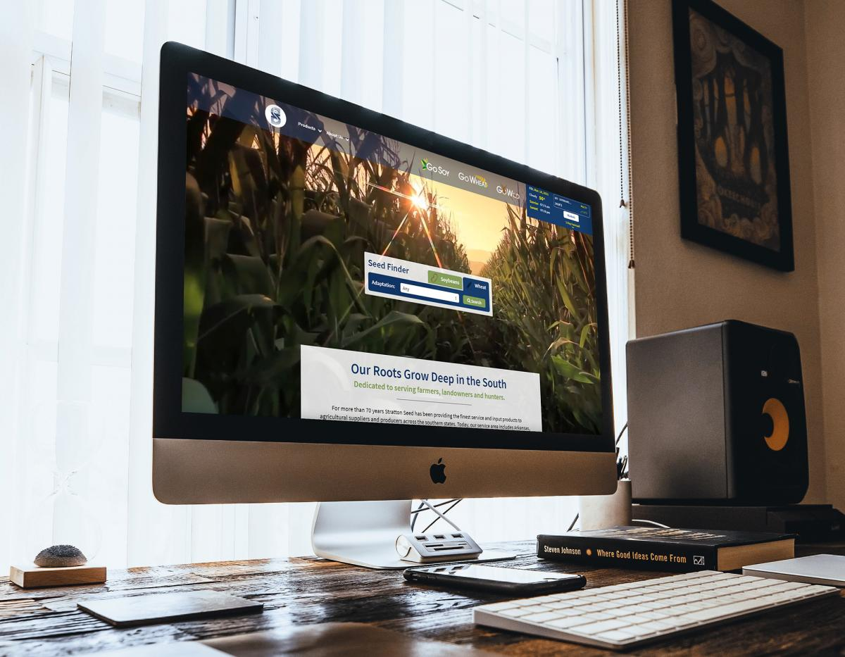 mockup of Stratton Seed website on mac computer